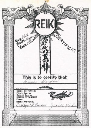 Reiki Master Certificate - Deena Douglas